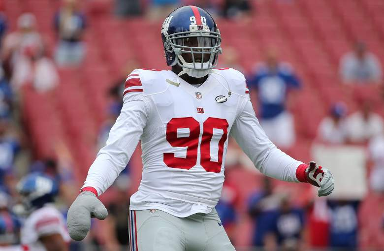 Jason Pierre-Paul now plays with a large mitt on his right hand to protect damages he suffered in a 2015 fireworks accident. (Getty)