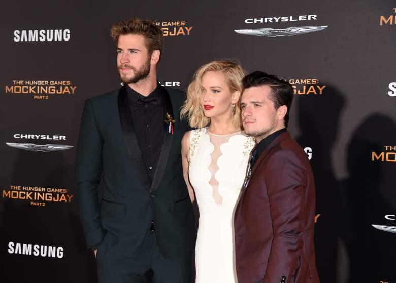 The Hunger Games cast, Jennifer Lawrence and Liam Hemsworth, Jennifer Lawrence white dress