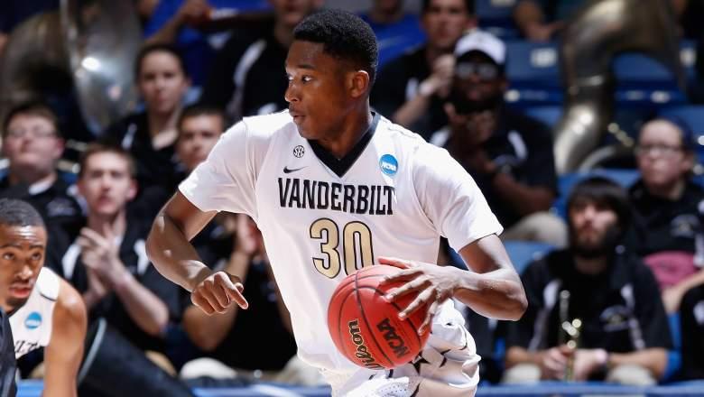 Damian Jones of Vanderbilt was the Warriors first-round pick Thursday night. (Getty)