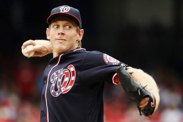 Stephen Strasburg was set for a big pitching match up against fellow super star Clayton Kershaw. (Getty)