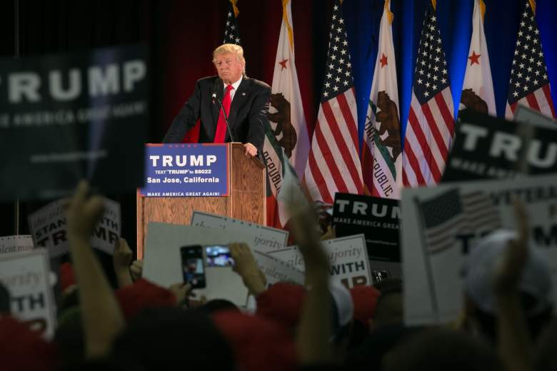 Donald Trump speaks at a campaign rally in San Jose, California ahead of the state's primary. (Getty)