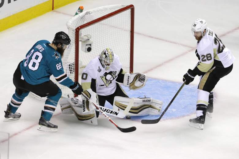 Penguins Matt Murray makes the save on Brent Burns in Game 3 of the Stanley Cup Final in overtime. Getty)