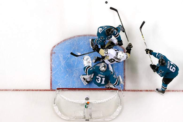 The Sharks defeated the Penguins 3-2 in overtime in Game 3 of the Stanley Cup Final. They look to carry that momentum into Monday night's game at SAP Center. (Getty)