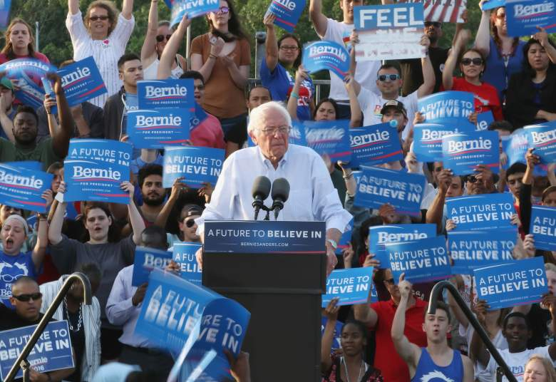 WASHINGTON, DC - JUNE 09: Democratic presidential candidate Sen. Bernie Sanders (I-VT), speaks during a campaign rally at Robert F. Kennedy Memorial Stadium June 9, 2016 in Washington, DC. After a meeting with President Barack Obama earlier at the White House, Sanders said he will work with Hillary Clinton to beat Donald Trump in the presidential election. (Photo by Mark Wilson/Getty Images)