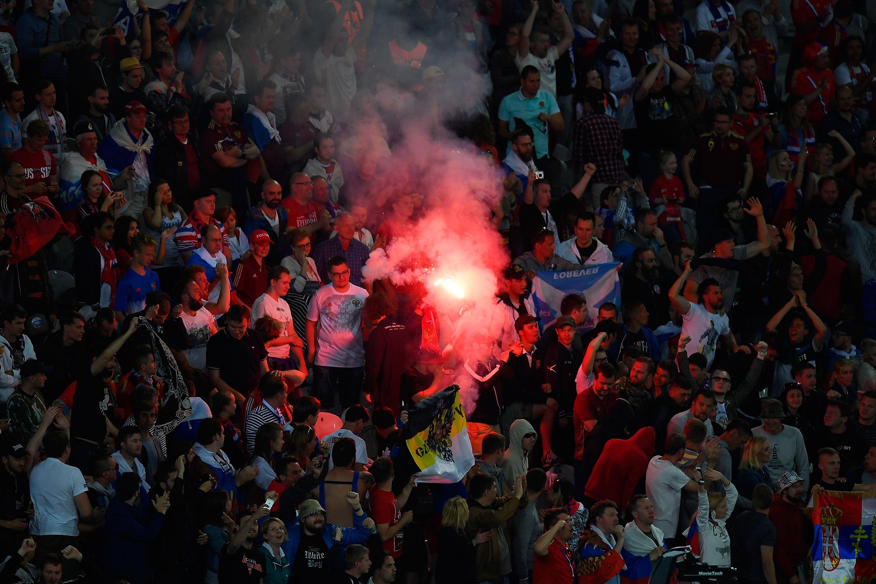 russia fans, russia fans flare, did russian fans do anything, russia fan violence