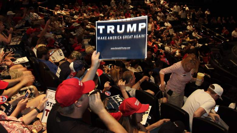 Supporters cheer for US Republican presidential candidate Donald Trump during a rally at the Treasure Island Hotel in Las Vegas, Nevada, on June, 18, 2016. / AFP / John GURZINSKI        (Photo credit should read JOHN GURZINSKI/AFP/Getty Images)