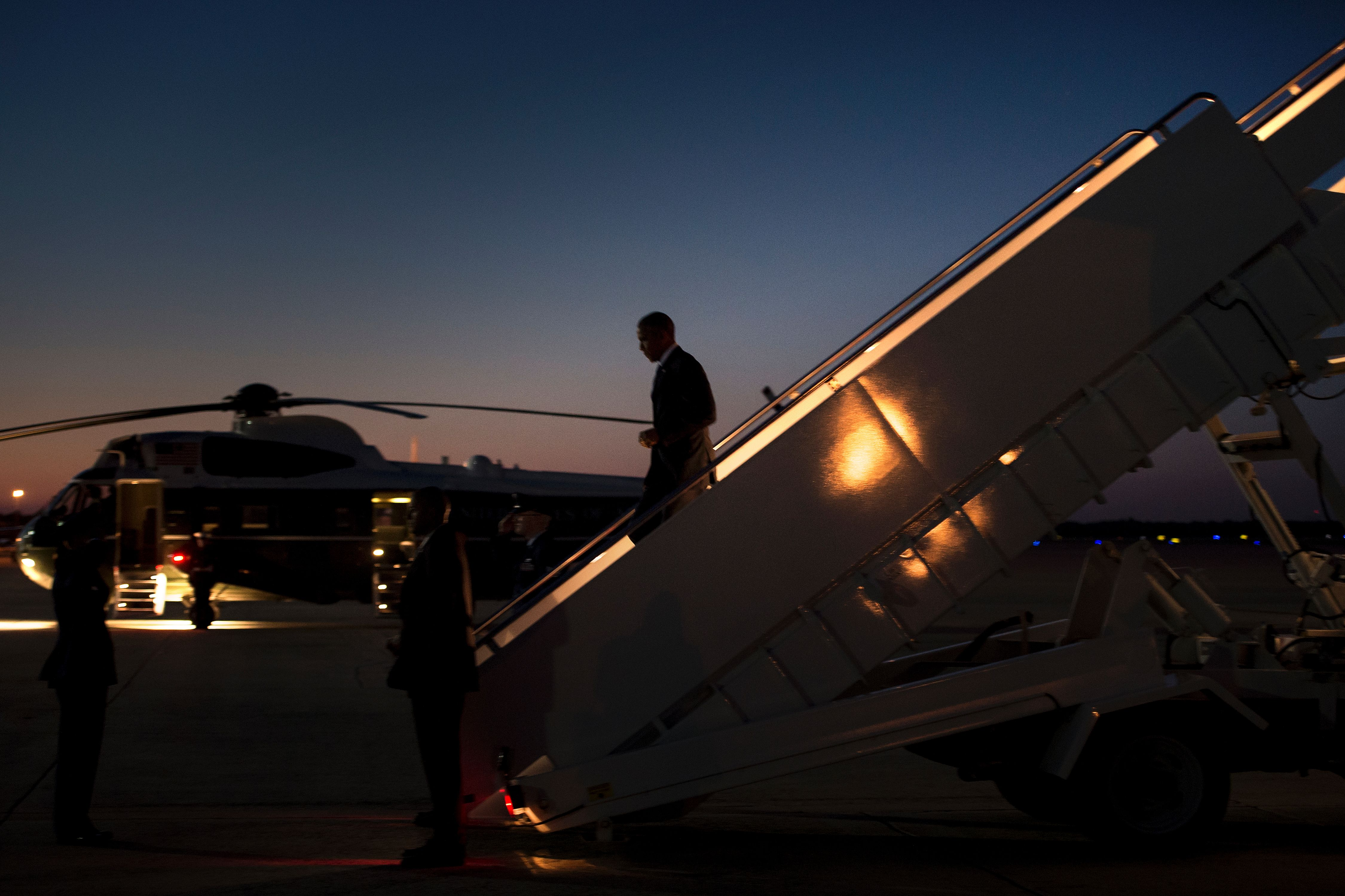President Barack Obama steps off Air Force One at Andrews Air Force Base June 29, 2016 in Maryland. (Getty)