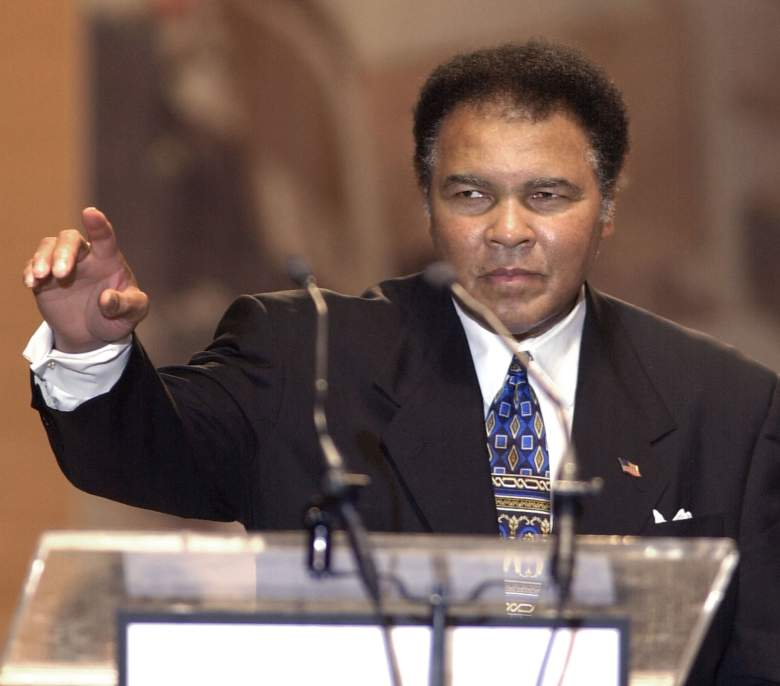 CINCINNATI - JUNE 17: Muhammad Ali speaks at the ceremony for the National Underground Railroad Freedom Center June 17, 2002 in Cincinnati, Ohio. The museum will tell the story of slaves who used the Underground Railroad to escape to freedom and will open in Spring 2004. (Photo by Mike Simons/Getty Images)