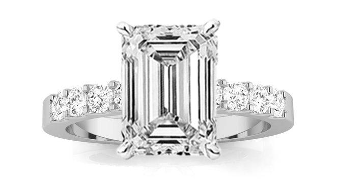 Emerald Cut Classic Prong Set Diamond Engagement Ring