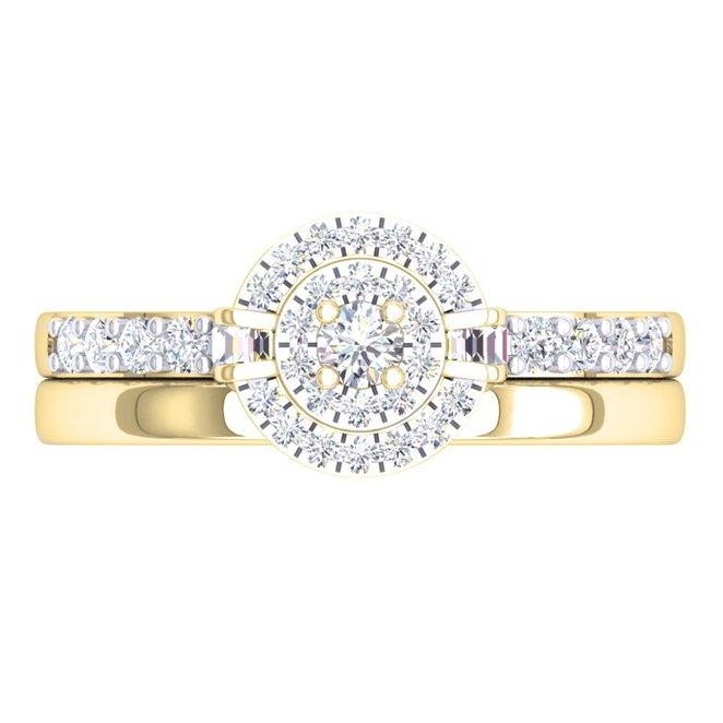 Baguette White Diamond Engagement Ring Set
