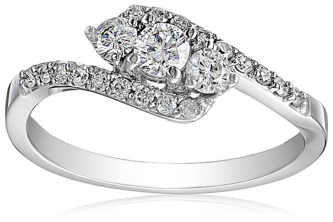 White Gold three stone Engagement Ring