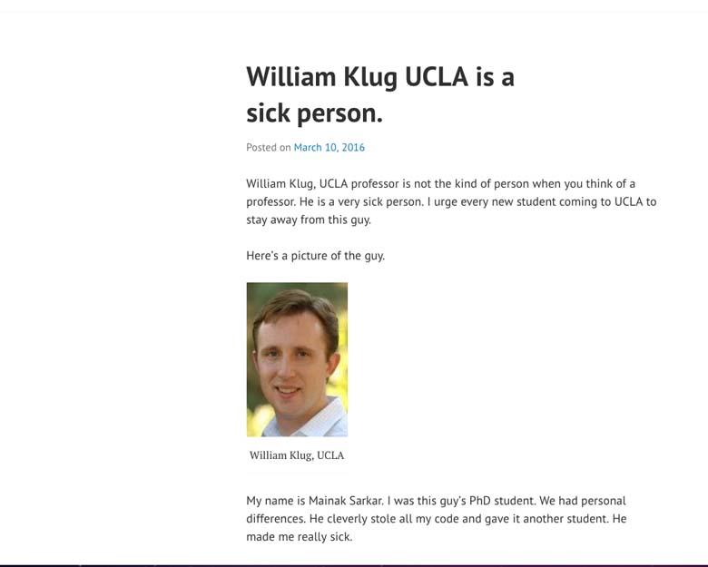 Mainak Sarkar blog post Professor William Klug