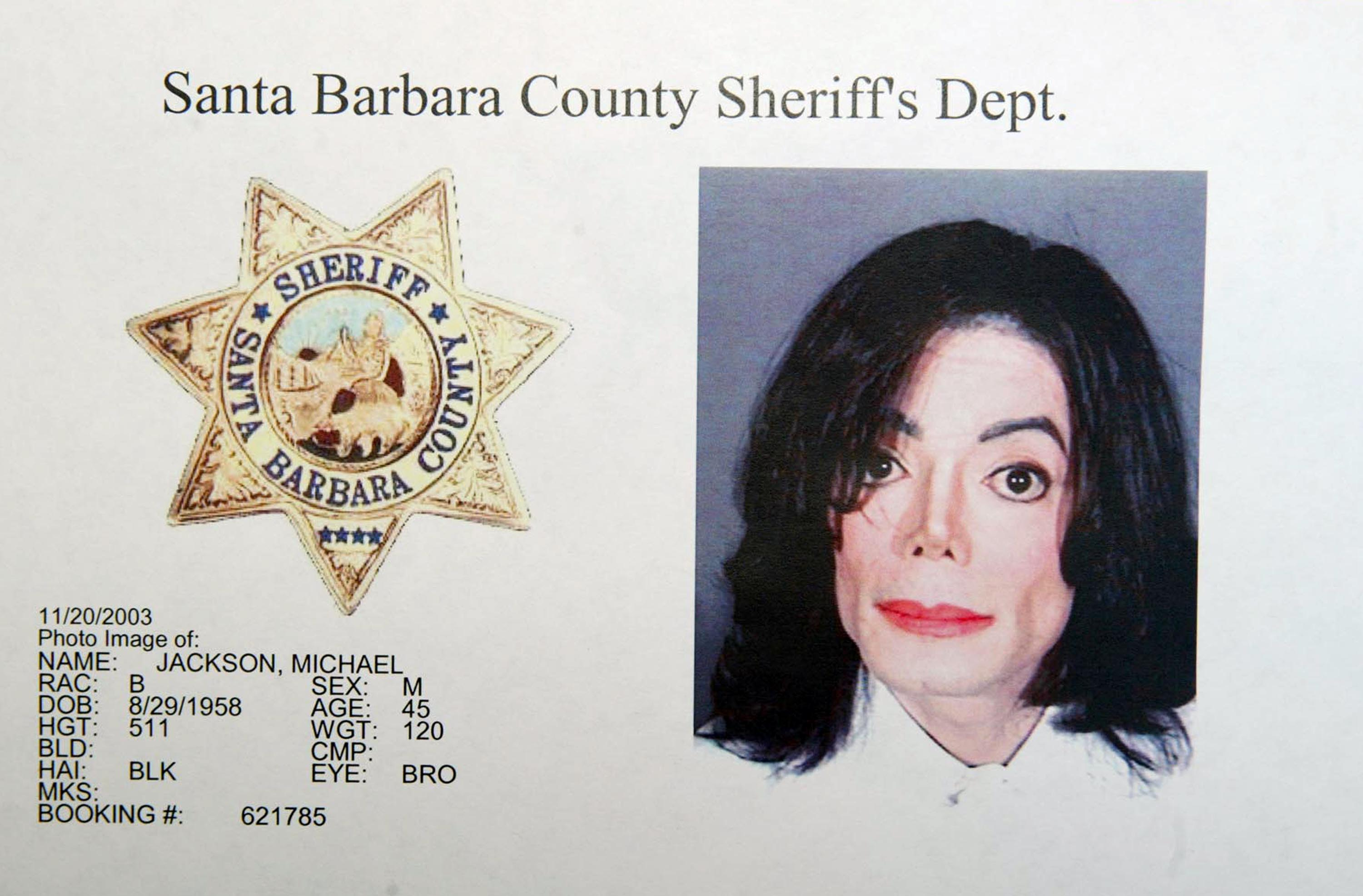 In this handout image provided by the Santa Barbara County Sheriff's Office, singer Michael Jackson is shown in a mug shot after he was booked on multiple counts for allegedly molesting a child November 20, 2003 in Santa Barbara, California. He was later acquitted of the charges. (Getty)
