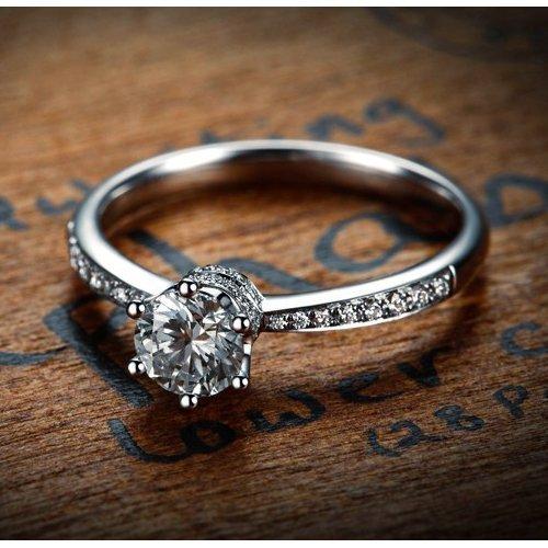 platinum moissanite engagement ring