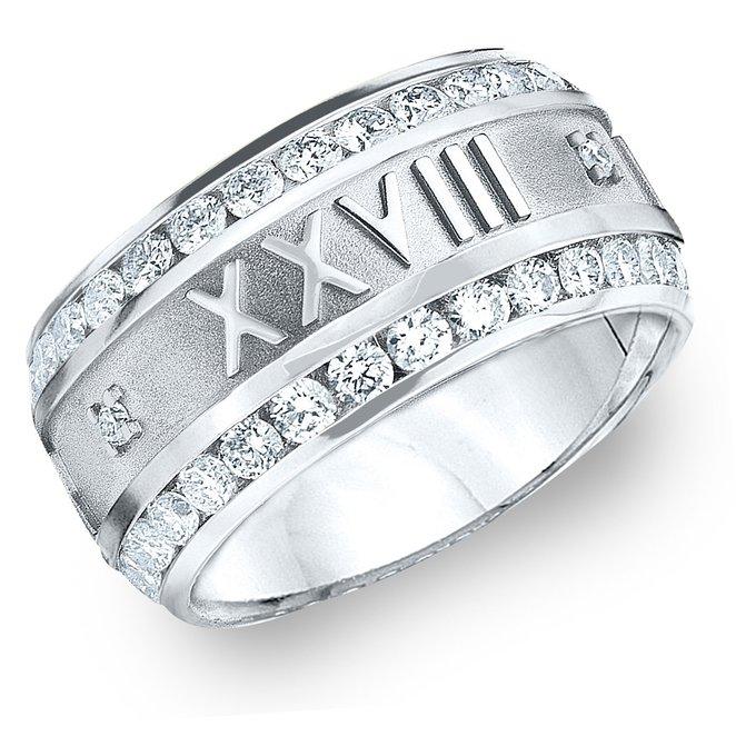 platinum roman numeral engagement ring