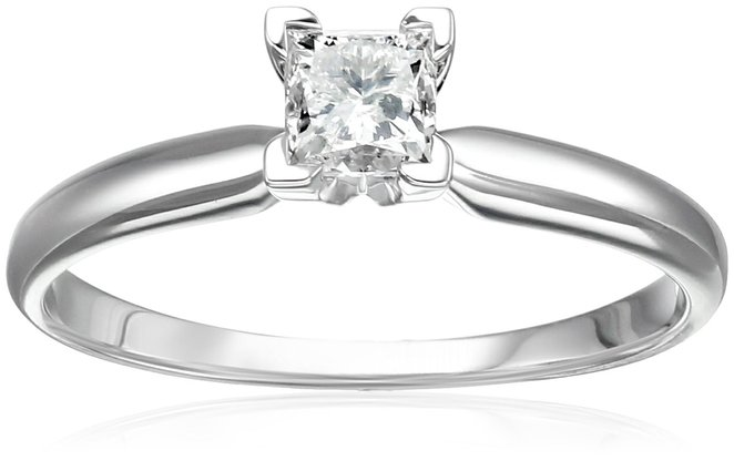 14k Gold Princess Solitaire Diamond Engagement Ring