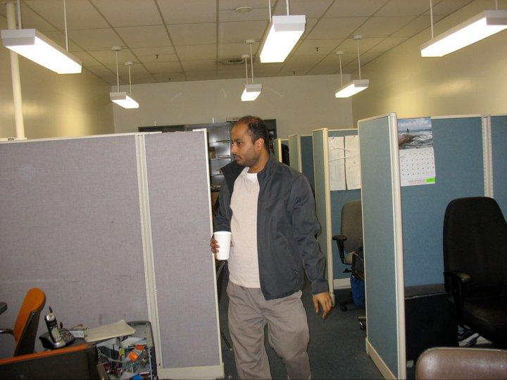 Sarkar inside the Engineering IV building at UCLA. (Facebook)