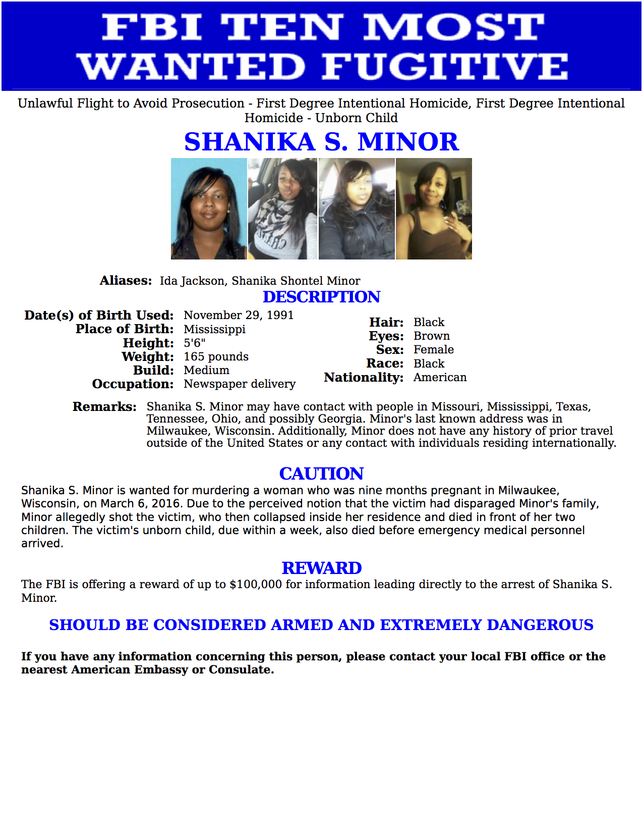 shanika minor, shanika minor fbi, shanika minor wanted poster