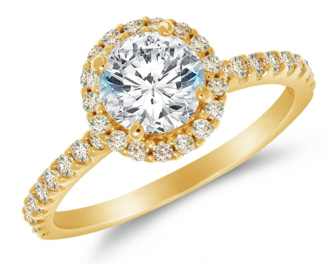 14k Yellow Gold Cubic Zirconia Halo Engagement Ring