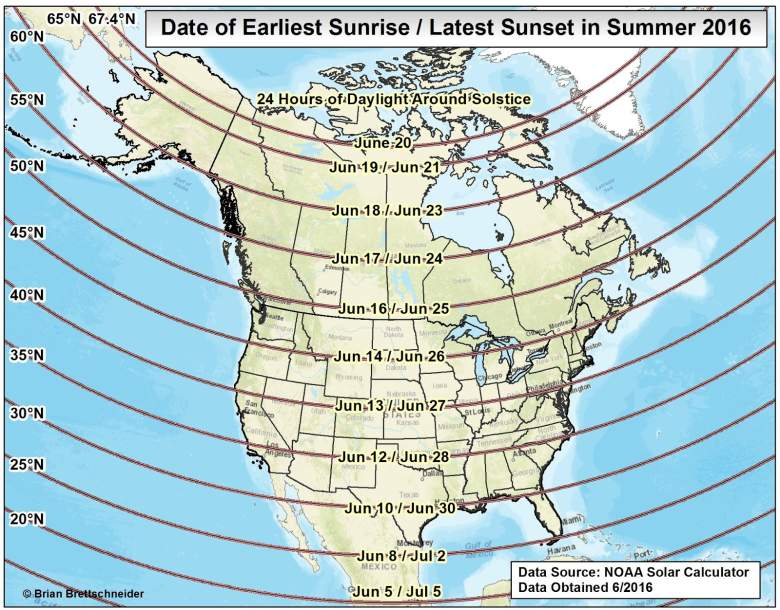 A map showing how many daylight hours people in the United States can expect today (Brian Brettschneider)