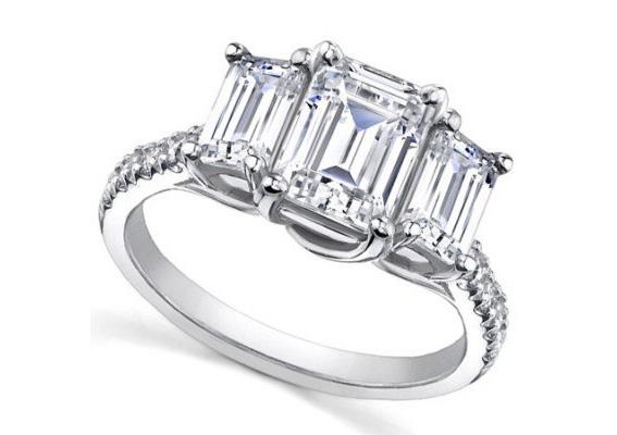 Emerald Cut Diamond Platinum Engagement Ring