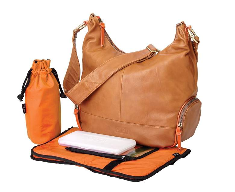 OiOi Leather Hobo Diaper Bag - Tan & Orange