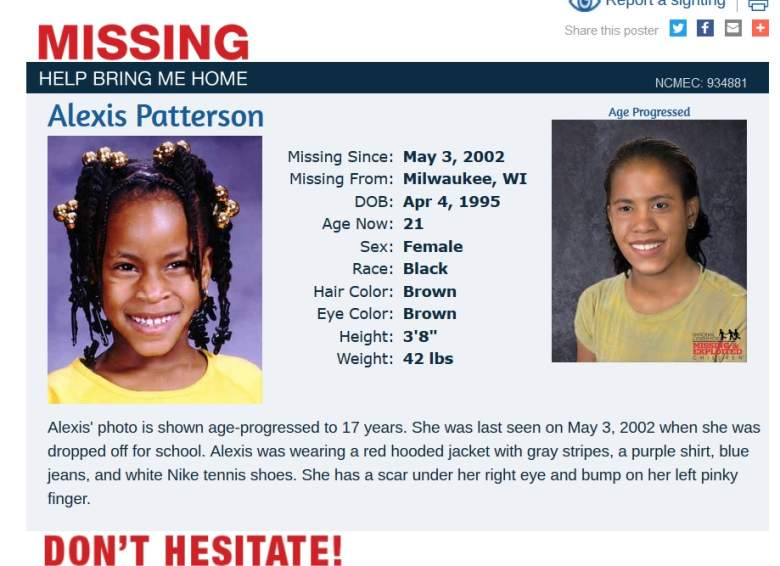 The missing poster in Alexis' case. National Center for Missing and Exploited Children.
