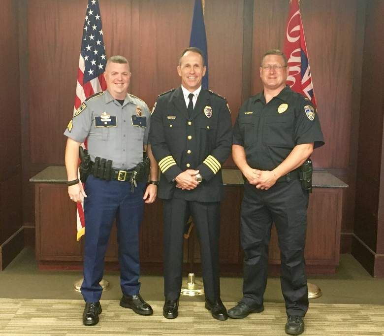 Dabadie (center) at a recent promotion ceremony. (Facebook/Baton Rouge Police Department)