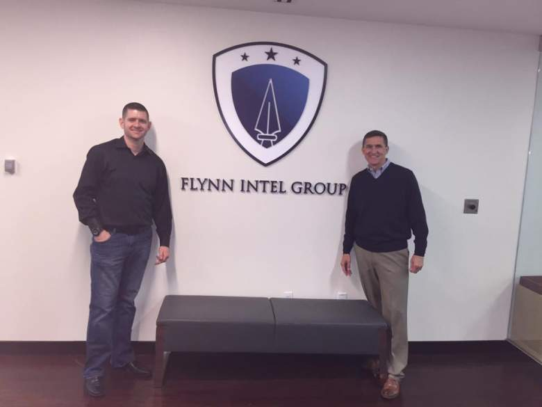 Michael Flynn and his son, Michael, at the Flynn Intel Group. Michael Sr. is the CEO of the group, and Michael Jr. is its chief of staff. The group provides services to governments and industry around the world. (Facebook/Michael Flynn)