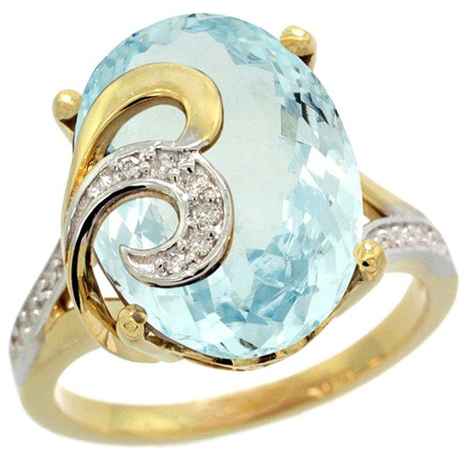 aquamarine yellow gold engagement