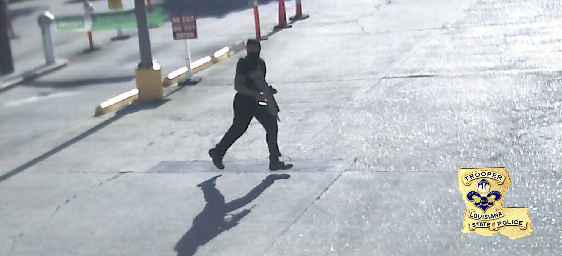 This surveillance photo shows the gunman at the scene of the shooting. (Louisiana State Police)