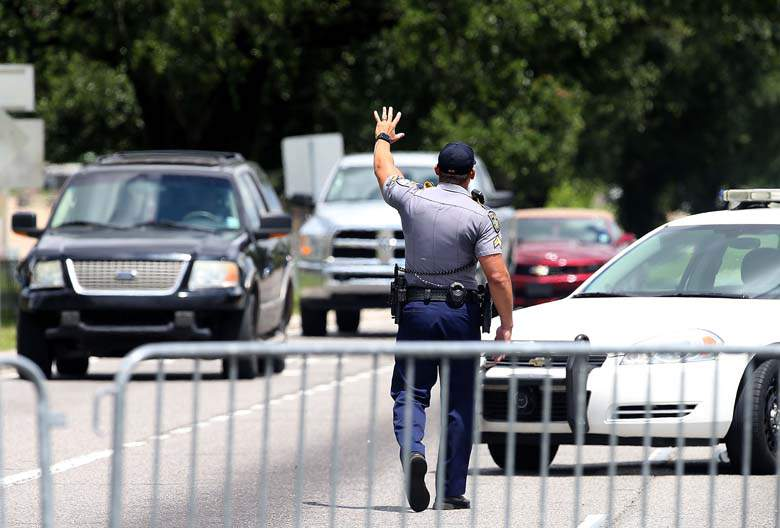 The scene where officers were shot July 17 in Baton Route. (Getty)