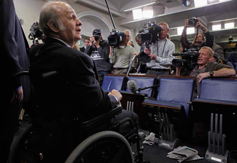 Former White House Press Secretary James Brady faces the cameras while visiting the press briefing room that bears his name in the West Wing of the White House March 30, 2011 in Washington, DC. (Getty)