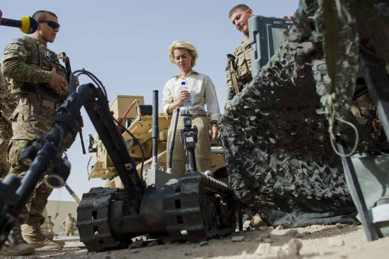 German Defense Minister Ursula von der Leyen looks at a US radio controlled bomb disposal robot during a demonstration of ground equipment of various ISAF forces at Camp Marmal outside Mazar-i-Sharif on July 23, 2014.  (Getty)