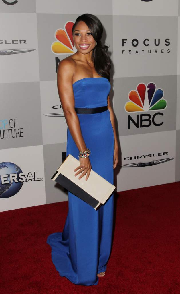 The athlete proved she does in fact clean up nice at NBC Universal's 71st Annual Golden Globe Awards After Party at The Beverly Hilton Hotel on January, 2014. According to USA Today, Felix eventually wants to teach fourth- and fifth-graders. (Getty)