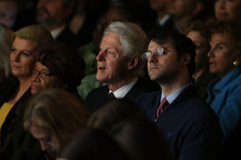 NEW YORK, NY - MARCH 09: Former president Bill Clinton and his son-in-law Marc Mezvinsky watch as former Secretary of State Hillary Rodham Clinton joins Melinda Gates and Chelsea Clinton for the official release of the No Ceilings Full Participation Report which coincides with the start of the 59th session of the United Nations' Commission on the Status of Women on March 9, 2015 in New York City. Global and community leaders participated in the program which looked to highlight the findings showing 20 years of global data compiled by No Ceilings reveals that there is more to done to achieve ?full and equal participation? of women and girls worldwide. (Photo by Spencer Platt/Getty Images)