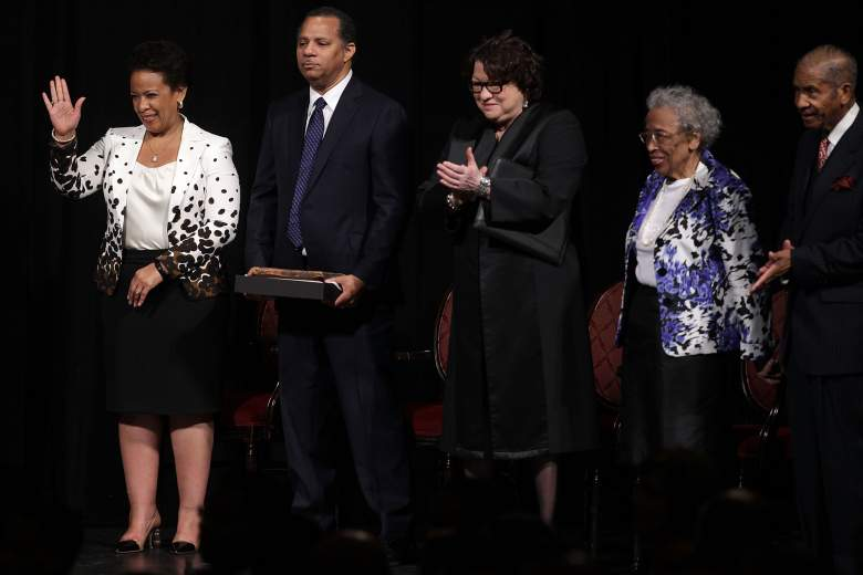 Loretta Lynch and her husband attend an investiture ceremony, administered by Supreme Court Justice Sonia Sotomayor. (Getty)