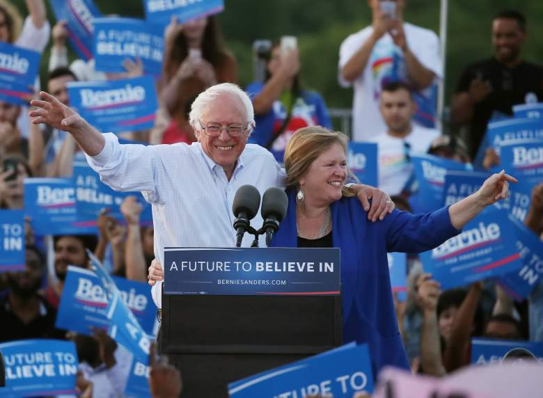 WASHINGTON, DC - JUNE 09: Sen. Bernie Sanders (I-VT), and his wife Jane O'Meara Sanders wave after speaking at a campaign rally at Robert F. Kennedy Memorial Stadium June 9, 2016 in Washington, DC. After a meeting with President Barack Obama earlier at the White House, Sanders said he will work with Hillary Clinton to beat Donald Trump in the presidential election. (Photo by Mark Wilson/Getty Images)