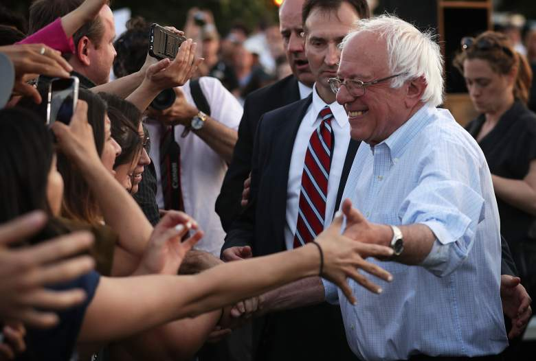 WASHINGTON, DC - JUNE 09: Democratic presidential candidate Sen. Bernie Sanders (I-VT) greets supporters during a rally near the Robert F. Kennedy Memorial Stadium June 9, 2016 in Washington, DC. After a meeting with President Barack Obama earlier at the White House, Sanders said he will work with Hillary Clinton to beat Donald Trump in the presidential election. (Photo by Alex Wong/Getty Images)