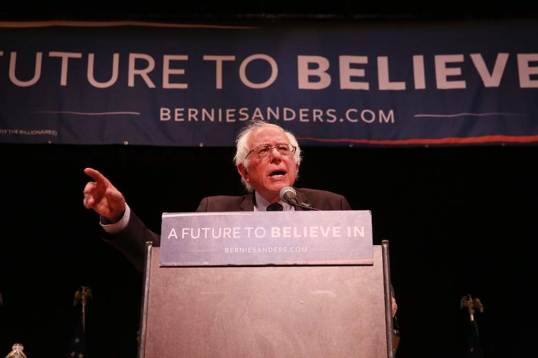 NEW YORK, NY - JUNE 23: U.S. Sen. Bernie Sanders (D-VT) speaks to supporters in Manhattan at an event where he went over his core political beliefs on June 23, 2016 in New York City. Speaking to an enthusiastic crowd, Sanders did not speak about Hillary Clinton who has secured the delegates to win the Democratic presidential nomination. (Photo by Spencer Platt/Getty Images)