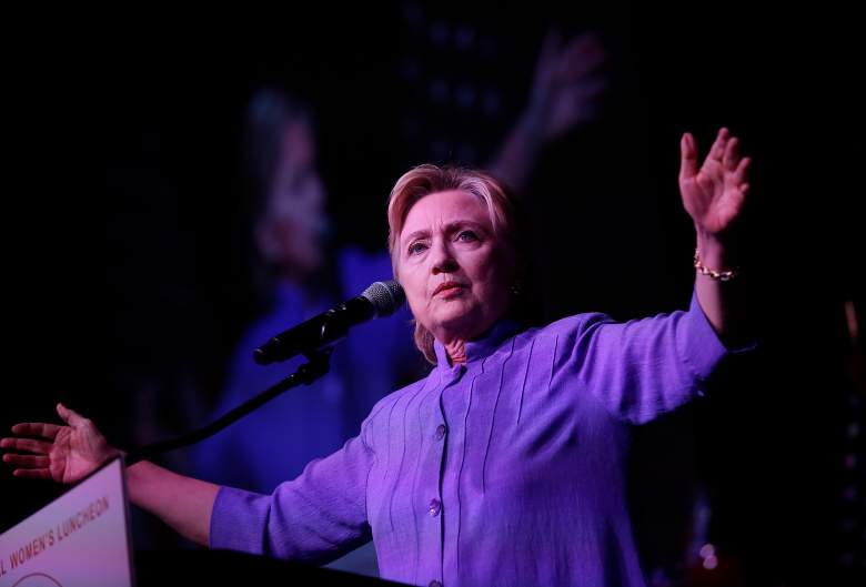 CHICAGO, IL - JUNE 27: Democratic presidential candidate Hillary Clinton delivers the keynote speech during the Rainbow PUSH Coalition's International Women's Luncheon June 27, 2016 in Chicago Illinois. Clinton addressed gun violence across the country and referred to the Orlando, Florida Pulse nightclub shooting and the uptick in gun crime across Chicago. ( Photo by Joshua Lott/Getty Images)