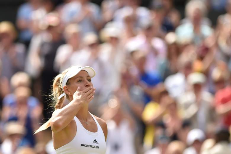Angelique Kerber celebrates beating Venus Williams during their women's semi-final match at the 2016 Wimbledon Championships. (Getty)
