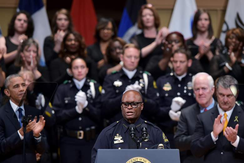 Dallas Police Chief David Brown speaks during an interfaith memorial service for the victims of the Dallas police shooting at the Morton H. Meyerson Symphony Center on July 12, 2016 in Dallas, Texas. President Barack Obama attended a somber memorial Tuesday to five police officers slain in a sniper ambush in Dallas, as he seeks to unify a country divided by race and politics. / AFP / MANDEL NGAN        (Photo credit should read MANDEL NGAN/AFP/Getty Images)