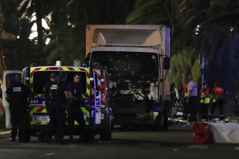 The truck in the Nice, France terrorist attack was riddled with bullets. (Getty)