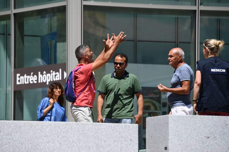 Tahar Mejri, who lost his wife during the deadly Nice attack that left 84 dead on Bastille day, yells in front of the Pasteur hospital in the French riviera town of Nice after he found out the death of his son on July 16, 2016. (Getty)