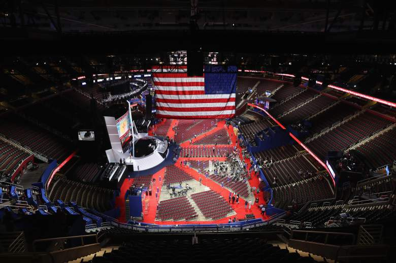 CLEVELAND, OH - JULY 17: The U.S. flag hangs inside the Quicken Loans Arena a day before the start of the Republican National Convention on July 17, 2016 in Cleveland, Ohio. The convention is set to run from July 18-21. (Photo by John Moore/Getty Images)
