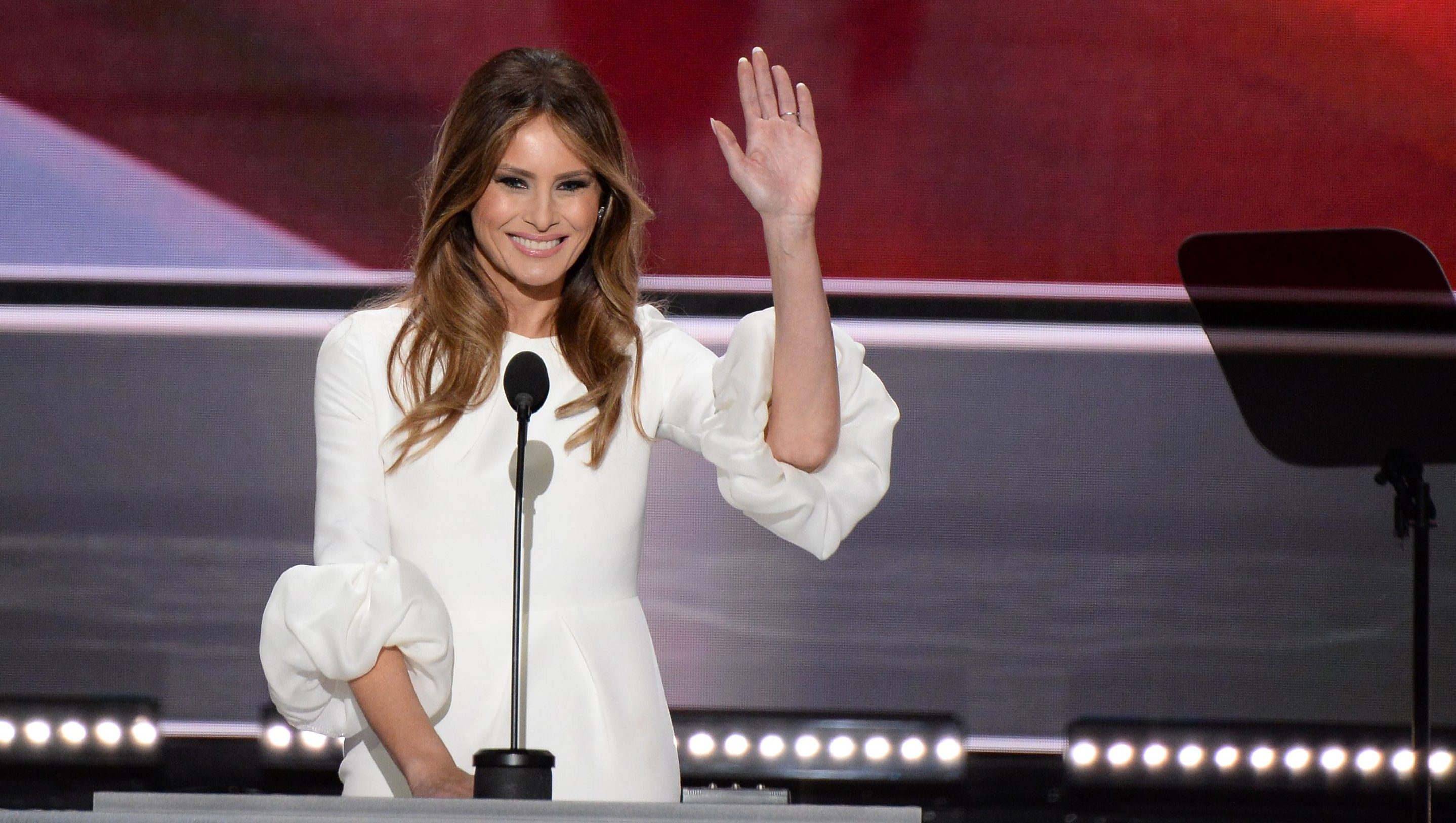 Melania Trump, wife of presumptive Republican presidential candidate Donald Trump, addresses delegates on the first day of the Republican National Convention on July 18, 2016 at Quicken Loans Arena in Cleveland, Ohio. (Getty)