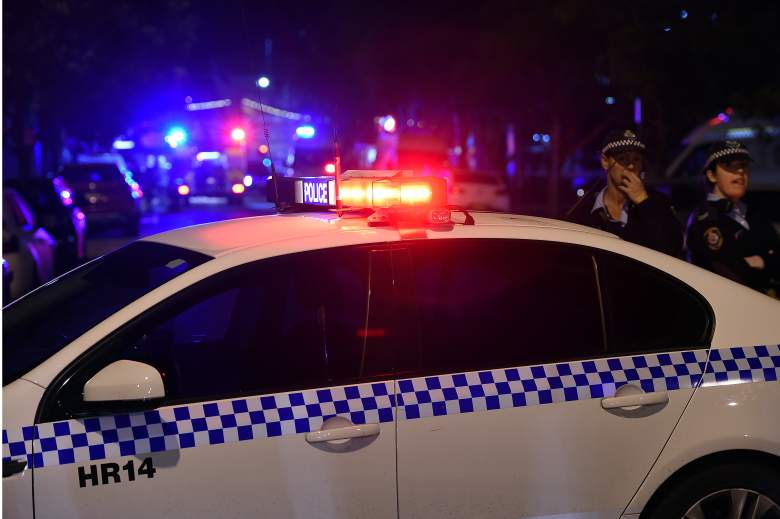 Police corden off the area around a police station in the Merrylands neighbourhood area of Sydney on July 21, 2016. A man was arrested in Sydney on July 21 and a bomb disposal squad was examining his car after he drove it into an underground police station car park. / AFP / SAEED KHAN        (Photo credit should read SAEED KHAN/AFP/Getty Images)