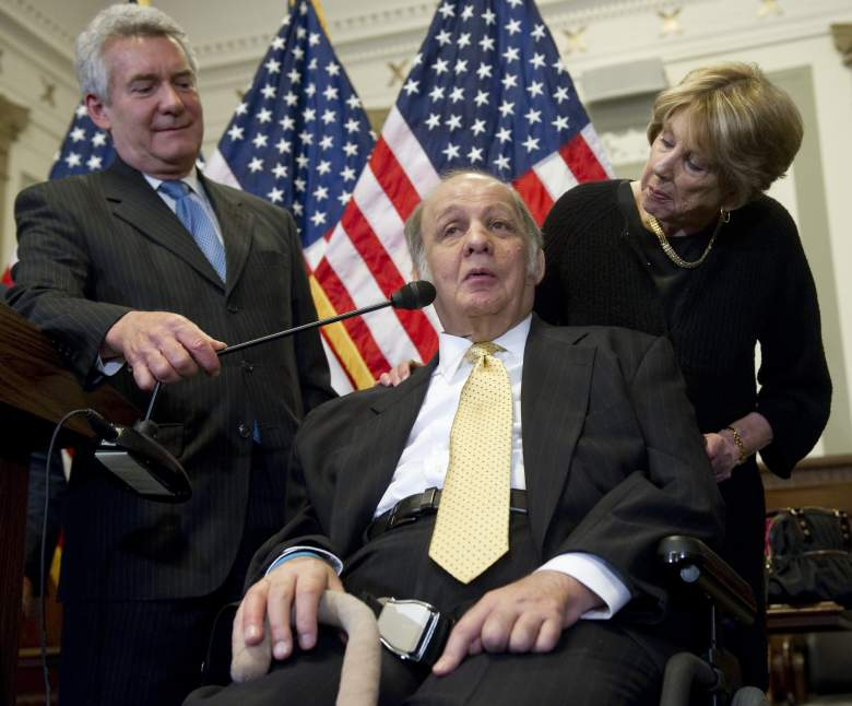Former White House Press Secretary Jim Brady (L) shakes hands with US Democrat Senator Frank Lautenberg of New Jersey after speaking about new legislation curbing gun violence during a press conference on Capitol Hill in Washington, DC, March 30, 2011. (Getty)