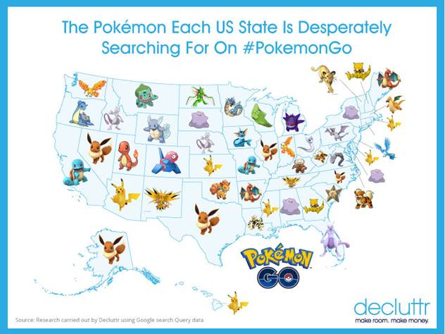 Us Pokemon Go Map Pokemon Go' Data: The Most Wanted Pokemon in Each State | Heavy.com